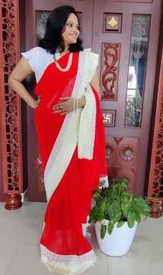 Party with Red Saree - Hand Crafted - Pure Georgette