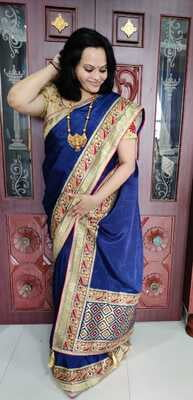 Royal Navy Blue Saree - Hand Crafted - Raw Silk
