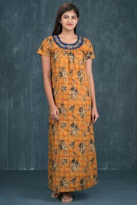 Maybell - Vintage Floral Printed Nighty - Mustard