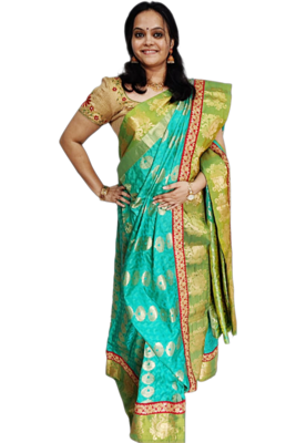 Traditional Rama Green Silk Saree with trendy lace work- Hand Crafted -