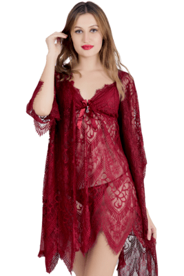 Lace N Mesh Babydoll With matching Thong - Merlot