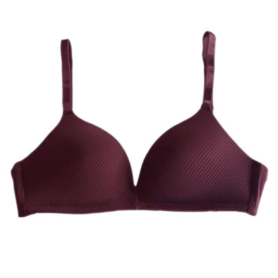 Lightly paded - deep cut neck - seemless satin (Maroon)