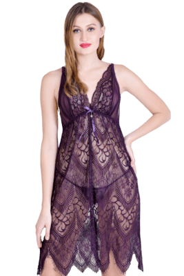Lace N Mesh Babydoll with matching Thong - Wine