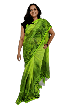 Leafy Green Saree - Hand Crafted - Georgette