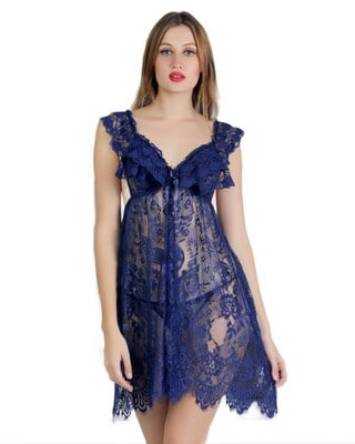 Navy Blue Lace Babydoll with matching Thong